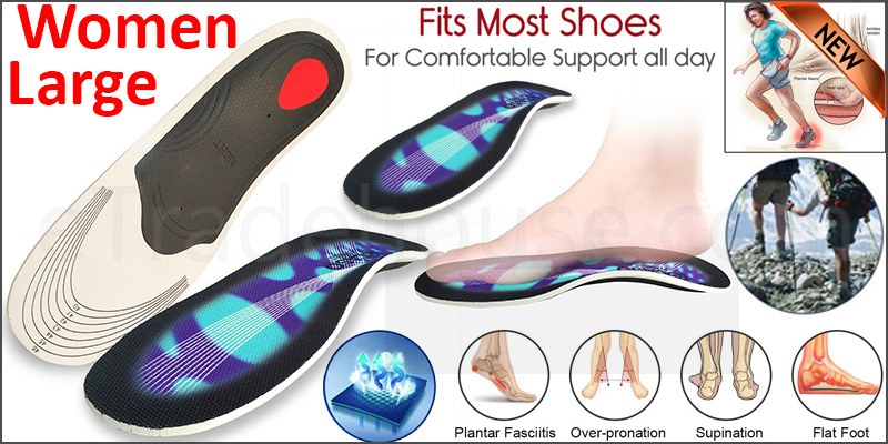 Orthotic Pro Insoles Arch Support Heel Cushion Plantar Fasciitis Orthopedic 3D  Women Large Blue