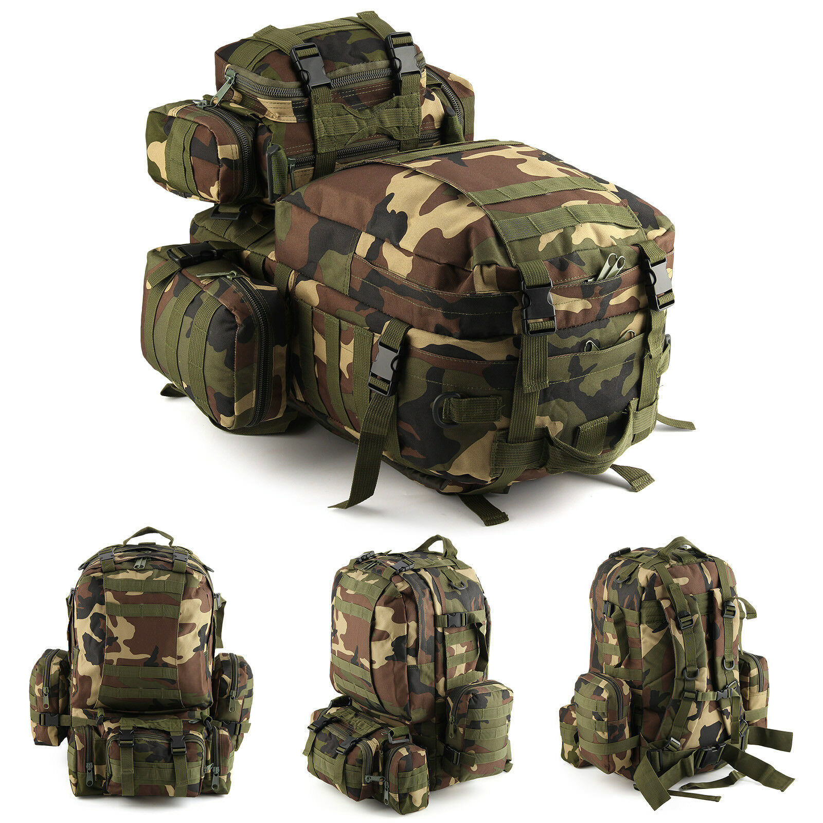 Wooden Camouflage 50L Modern Military Tactical Army Rucksacks Molle Backpack Camping Hiking Bag