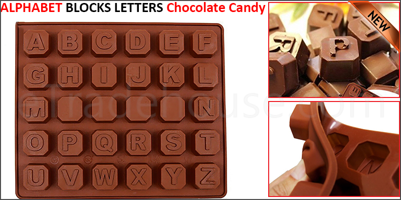 Alphabet Blocks Letters Silicone Mould Chocolate Candy Gift Words Favours Party