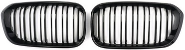 Pair Gloss Black Front Kidney Grille Grill For Bmw F20 F21 1 Series 2015-2017 Uk
