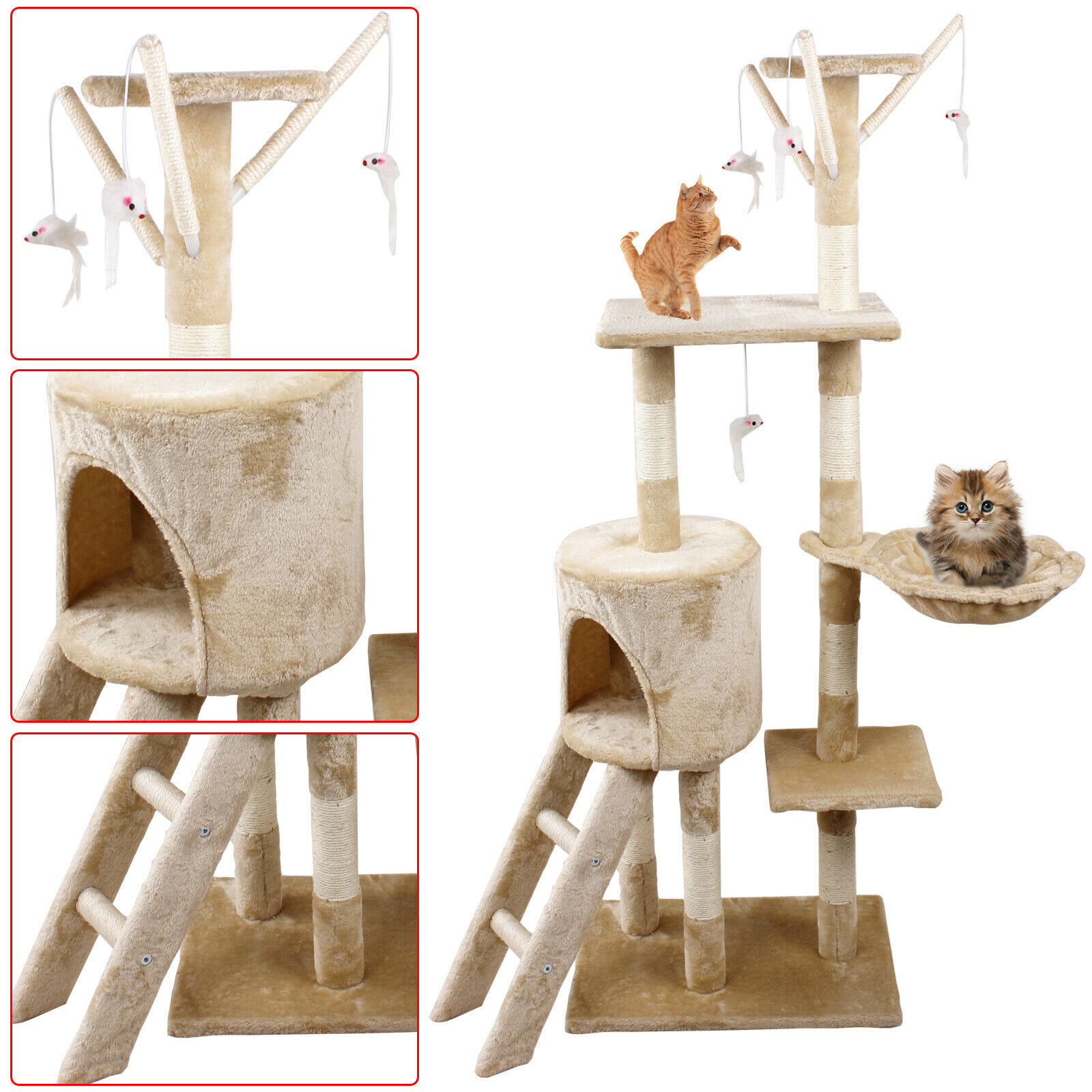 Beige 140Cm Cat Kitten Climbing Tree Scratching Post Activity Centre House Play Toys