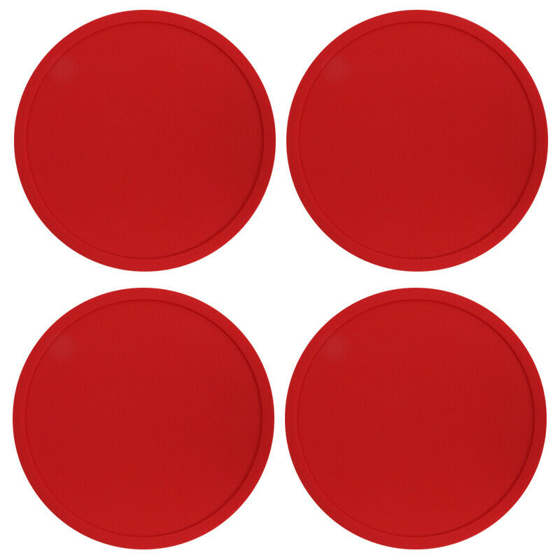 Red Premium Rubber Silicone Hot Drink Coasters Place Mat Coffee Tea Mug - 4 Pack