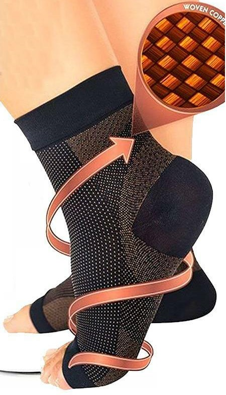 Small Medium Brown Copper Compression Ankle Socks Foot Heel Sleeve Arthritis Pain Relief Support
