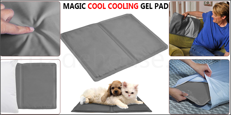 Grey Cooling Gel Pillow Chilled Natural Comfort Sleeping Aid Body Cool Bed Mat Pad