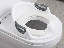 White Kids Soft Padded Potty Toilet Training Seat With Handle For Boys Girls Travel