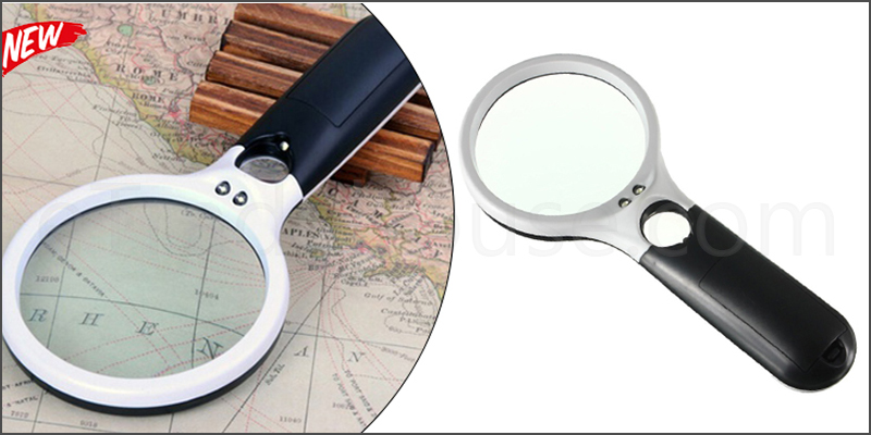 Handheld 45X Magnifier Reading Magnifying Glass Jewelry Loupe With 3 Led Light