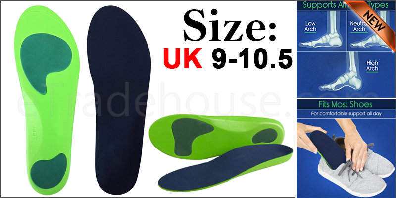 Orthotic Insoles For Arch Support Plantar Fasciitis Flat Feet Back & Heel Pain  Uk 9-10.5