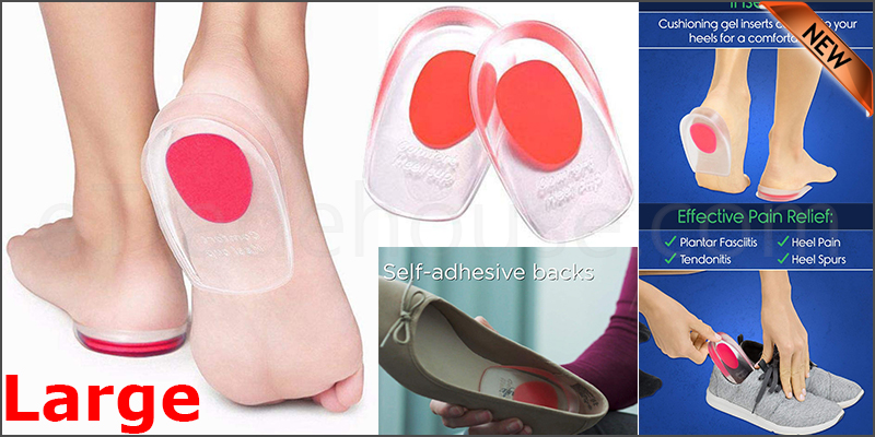 Fast Foot Pain Relief Plantar Fasciitis Gel Heel Support Cushion Insoles Pad Cup Red Large