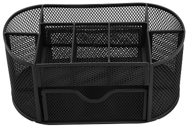 Black Pencil Tray Mesh Pen Holder Stationery Container Storage Desk Tidy Organiser