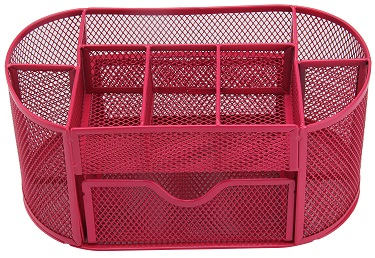 Hot Pink Pencil Tray Mesh Pen Holder Stationery Container Storage Desk Tidy Organiser