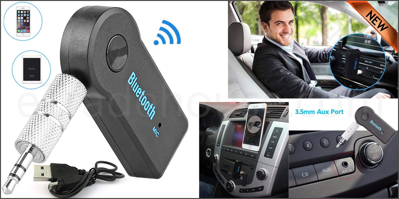 Car Wireless Bluetooth 3.0 Audio Receiver Dongle Music Adapter Built-In Mic Aux 3.5Mm