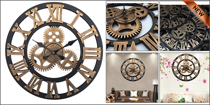 40Cm Traditional Vintage Mechanical Style Mdf Board Wall Clock Roman Numerals