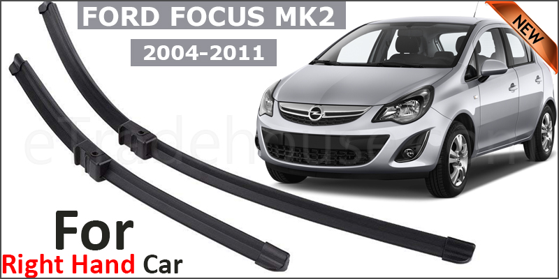 """Ford Focus Mk2 2004-11 Front Windscreen 26"""" 17"""" Aero Wiper Blades Set (For Right Handed Drive)"""