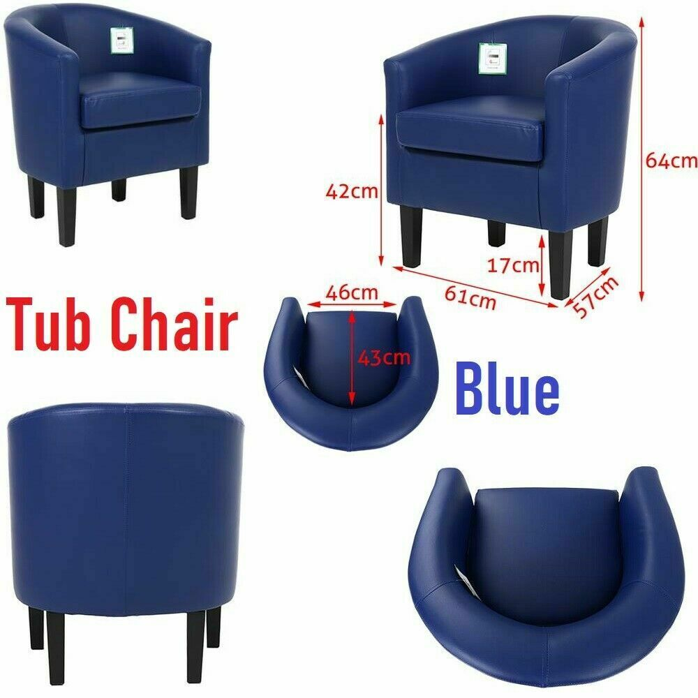 Blue Luxury Faux Leather Tub Chair Armchair Sofa Seat For Dining Living Room Office