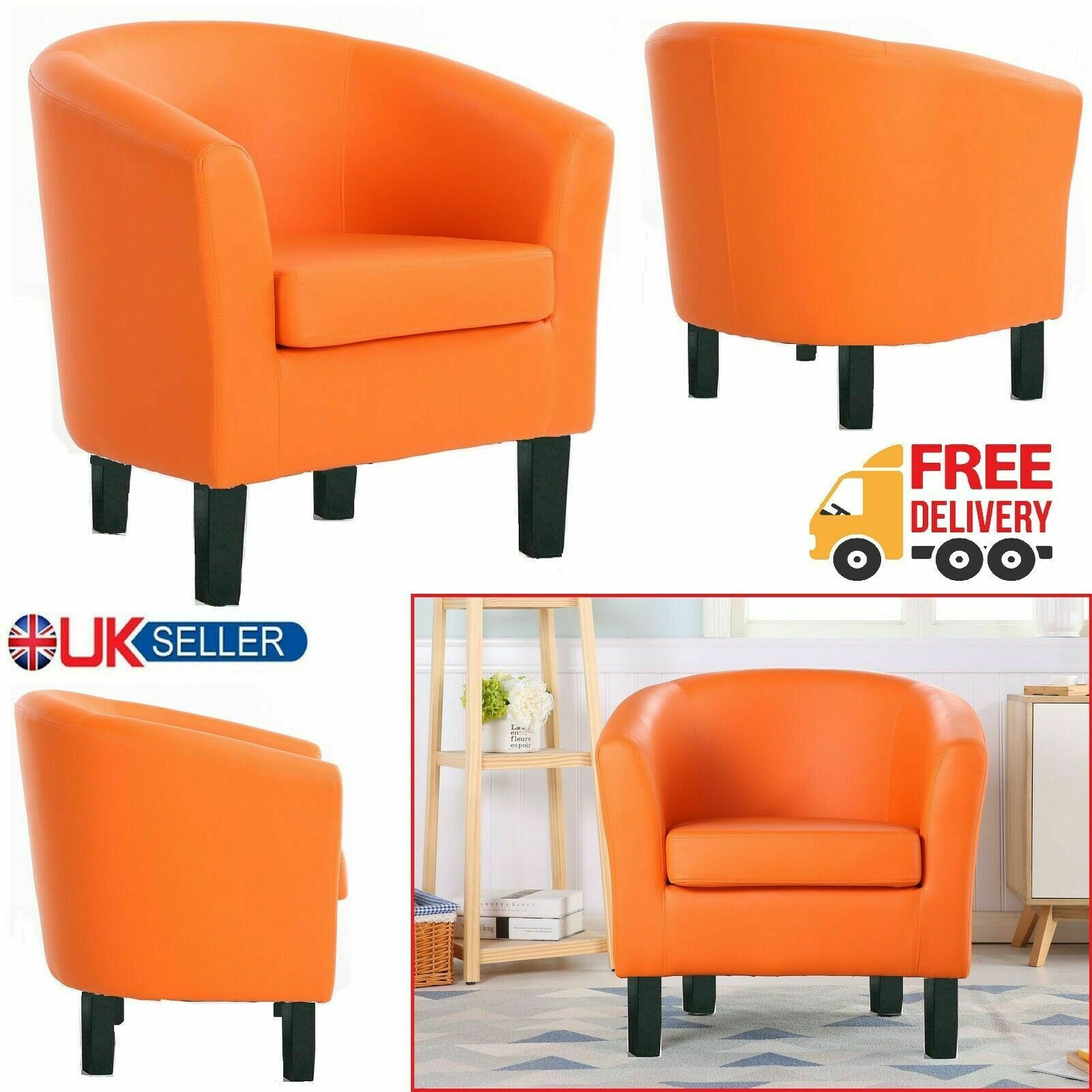 Orange Luxury Faux Leather Tub Chair Armchair Sofa Seat For Dining Living Room Office