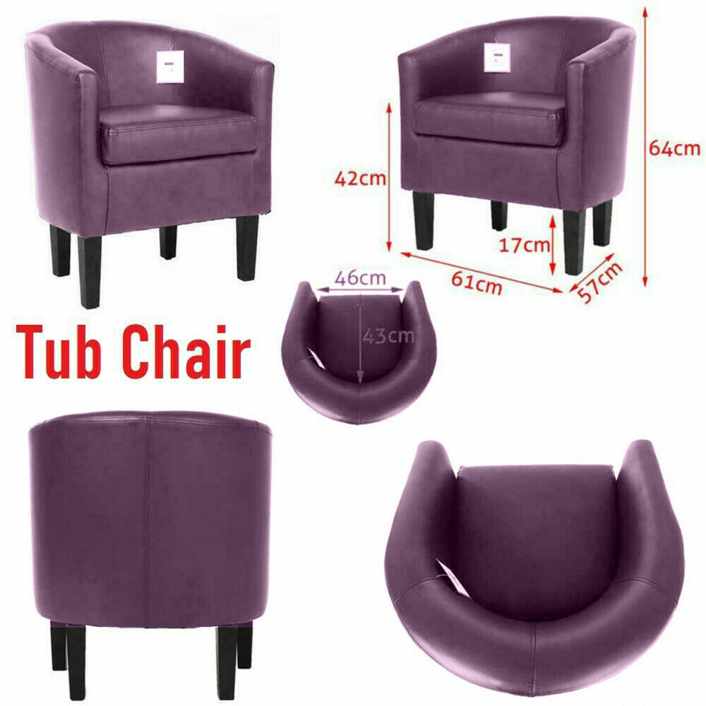 Purple Luxury Faux Leather Tub Chair Armchair Sofa Seat For Dining Living Room Office