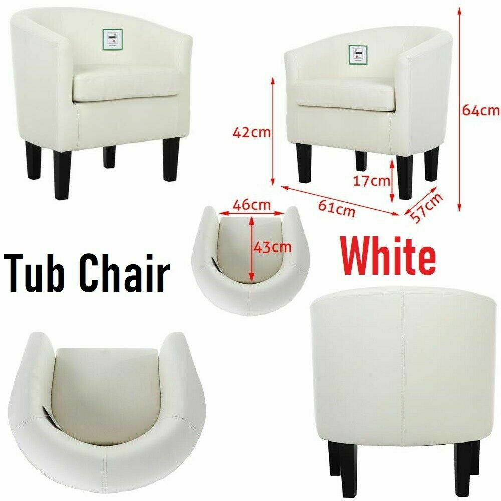 White Luxury Faux Leather Tub Chair Armchair Sofa Seat For Dining Living Room Office
