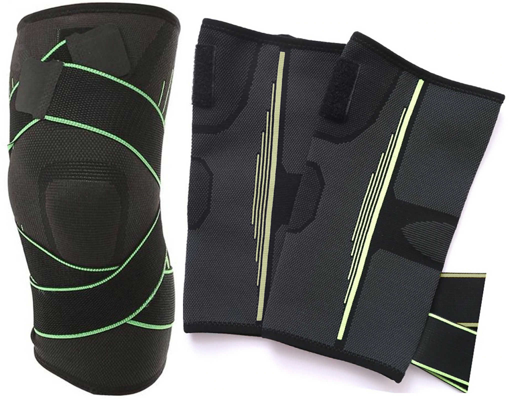 Small Green Knee Support Brace Compression Extra Strap Support Sports Protector Adjustable