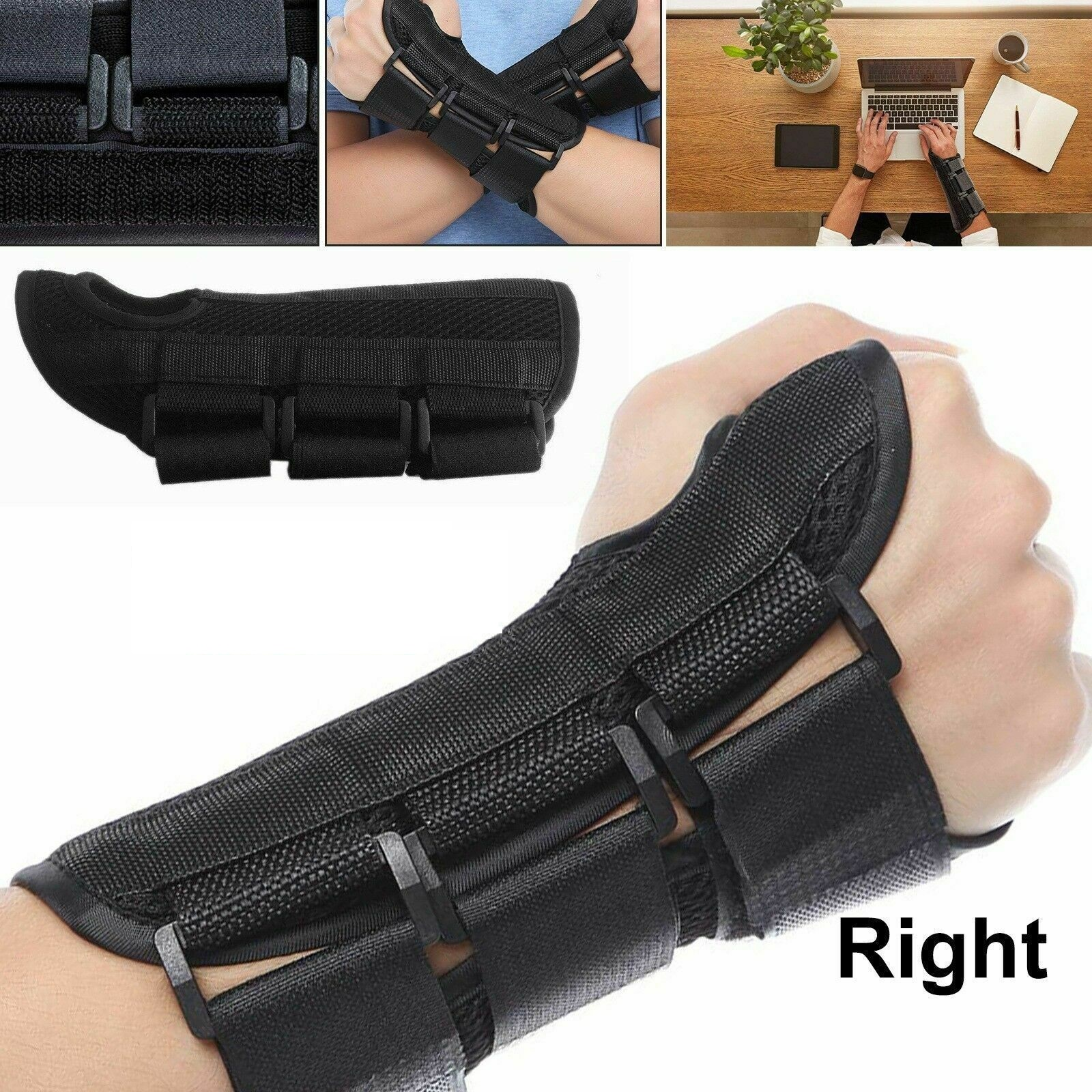 Small Black Right Hand Adjustable Wrist Support Brace Carpal Tunnel Fractures Splint