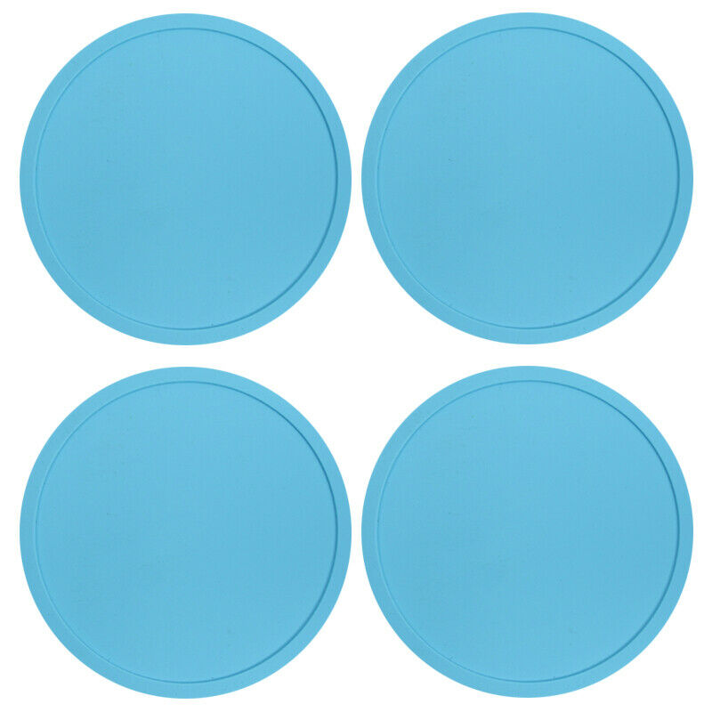 Blue Premium Rubber Silicone Hot Drink Coasters Place Mat Coffee Tea Mug - 4 Pack