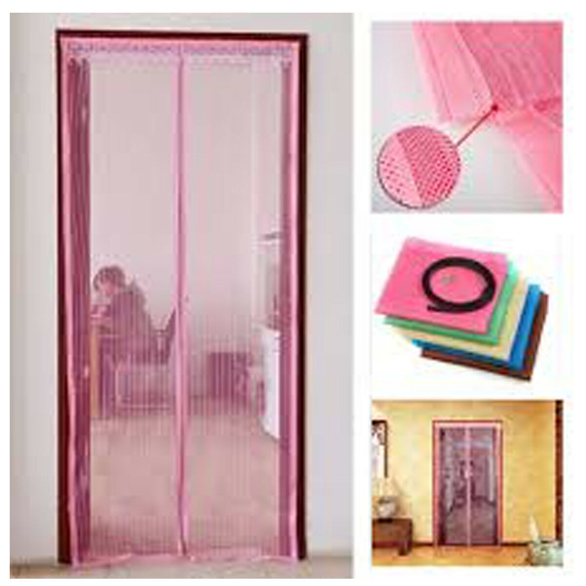 Pink Magnetic Mesh Door Magic Protection Curtain Snap Fly Bug Insect Mosquito Screen