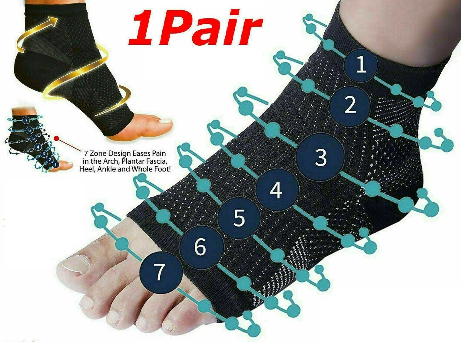 2 X Plantar Fasciitis Compression Socks Heel Foot Arch Pain Relief Support Pair Large And Extra Large