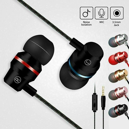 Rose Gold Super Bass Earphones Hands Free Headphone for iPhone iPad iPod Samsung with Mic