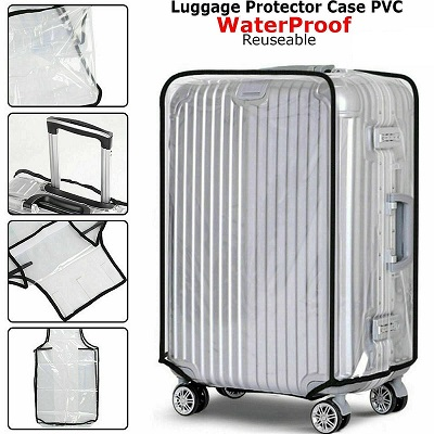 26 Inch Pvc Travel Luggage Suitcase Cover Waterproof Bag Protector Transparent