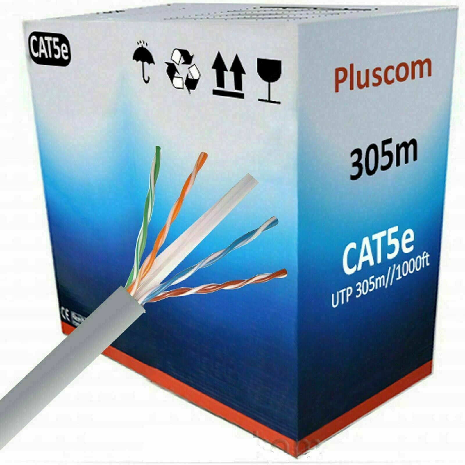 Grey 305M Rj45 Cat5E Outdoor Network Ethernet Utp Cable Roll 4 Pair Adsl Modem Reel Box