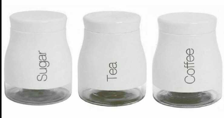 Set Of 3 White Storage Canisters Tea Coffee Sugar Jars Pots Food Containers