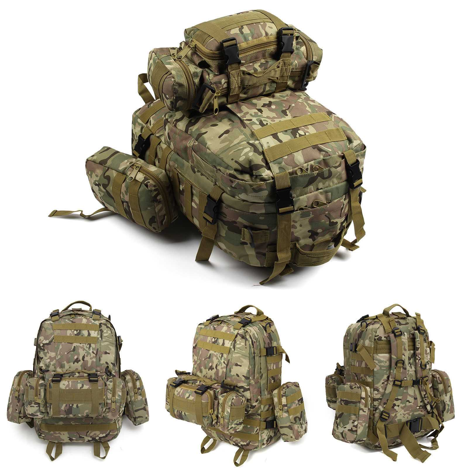 Camouflage 50L Modern Military Tactical Army Rucksacks Molle Backpack Camping Hiking Bag