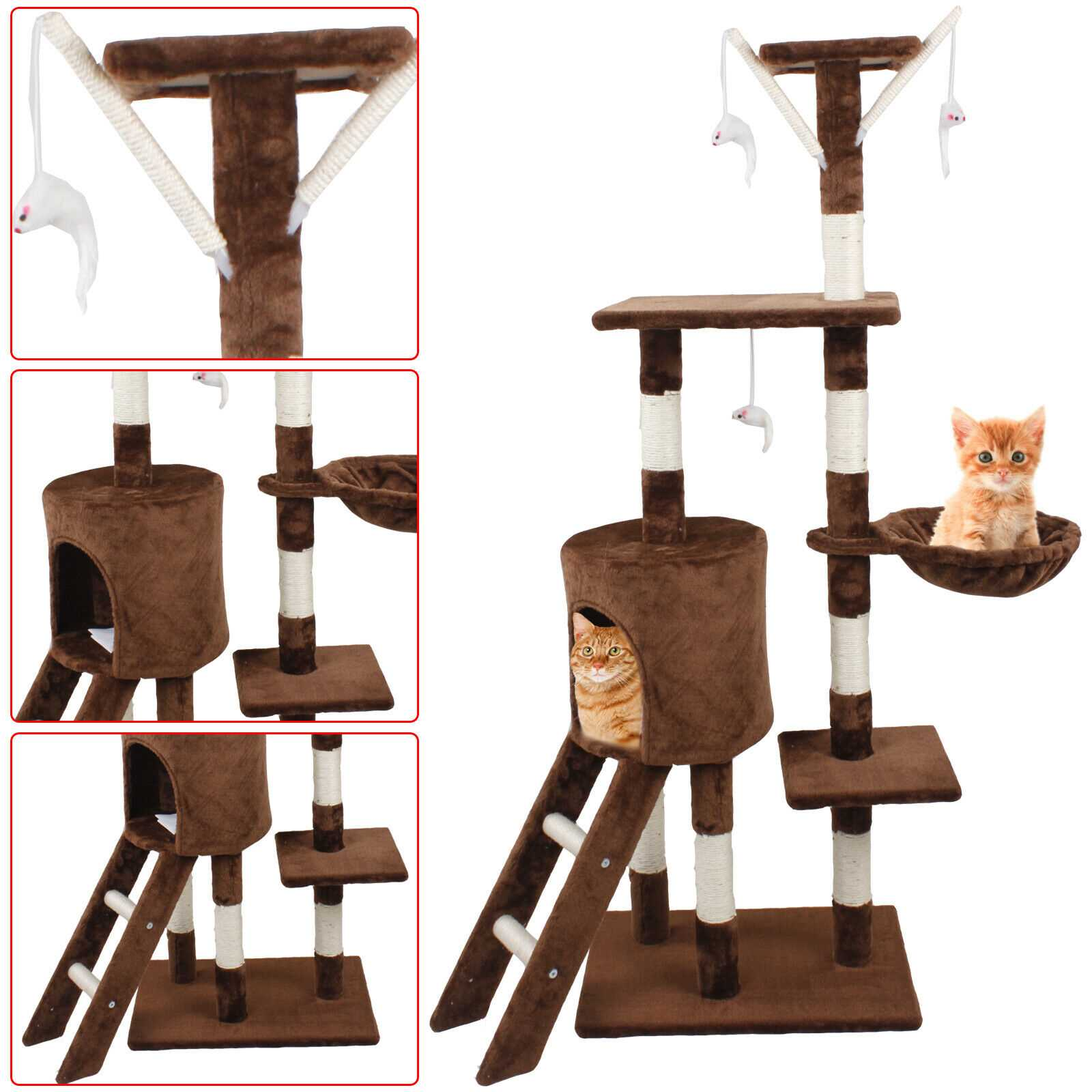 Brown 140cm Cat Kitten Climbing Tree Scratching Post Activity Centre House Play Toys