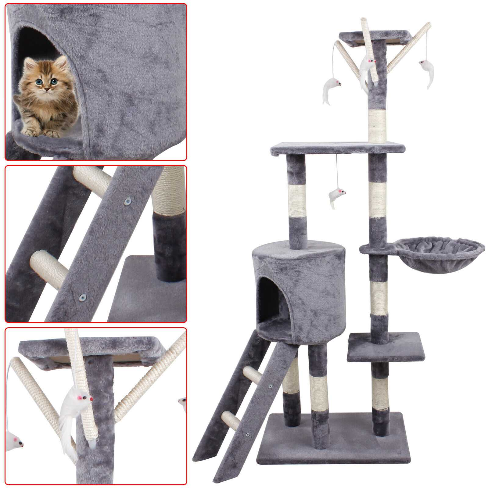 Grey 140cm Cat Kitten Climbing Tree Scratching Post Activity Centre House Play Toys