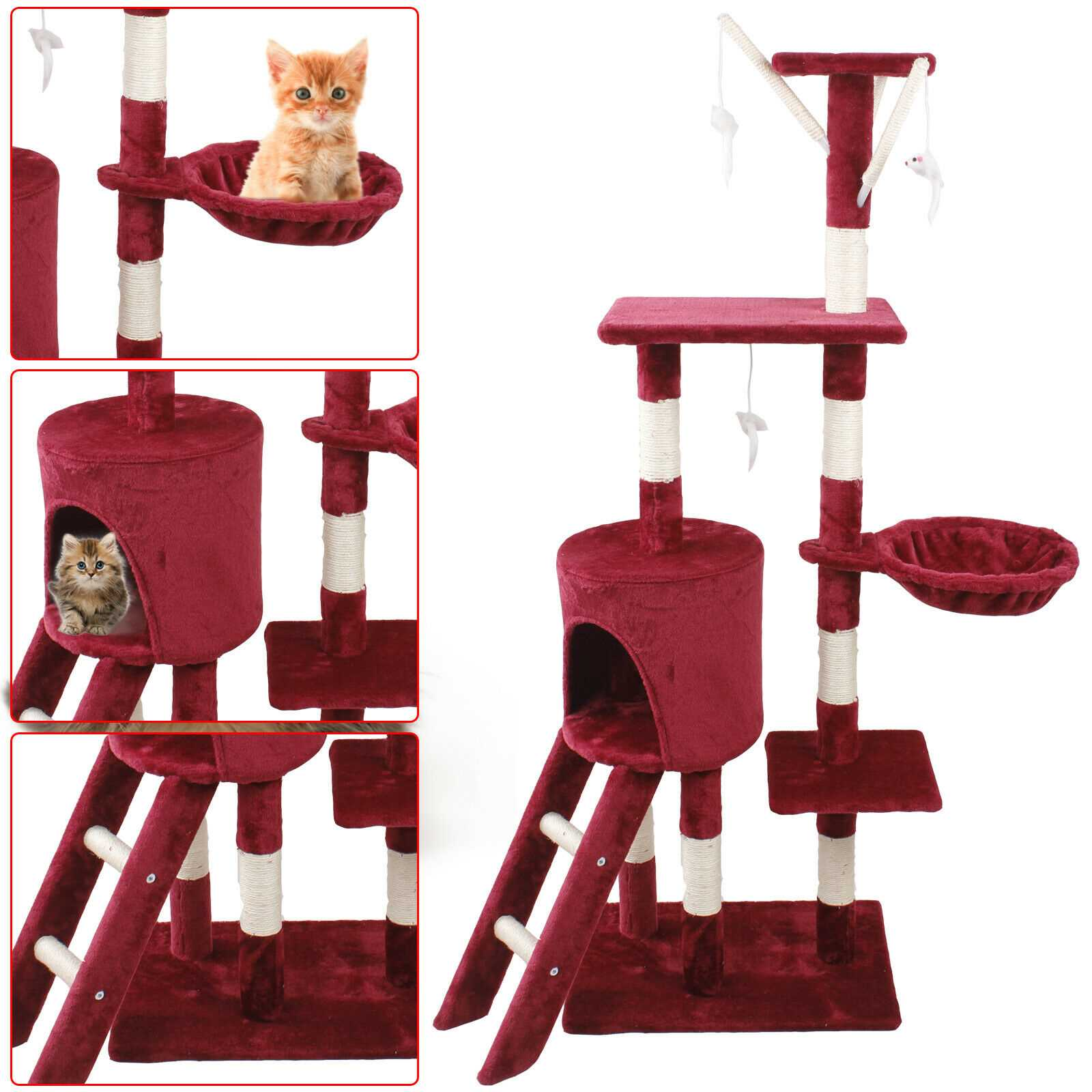 Bordeaux 140cm Cat Kitten Climbing Tree Scratching Post Activity Centre House Play Toys