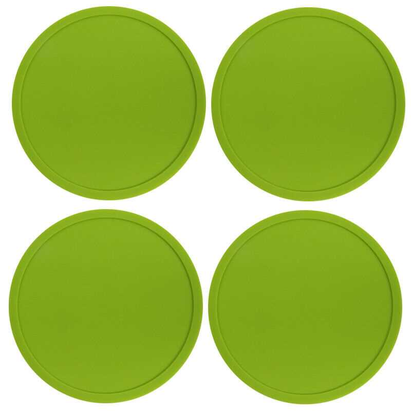 Green Premium Rubber Silicone Hot Drink Coasters Place Mat Coffee Tea Mug - 4 Pack