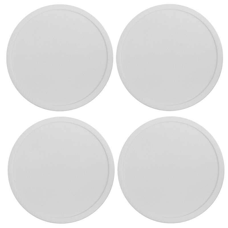 White Premium Rubber Silicone Hot Drink Coasters Place Mat Coffee Tea Mug - 4 Pack