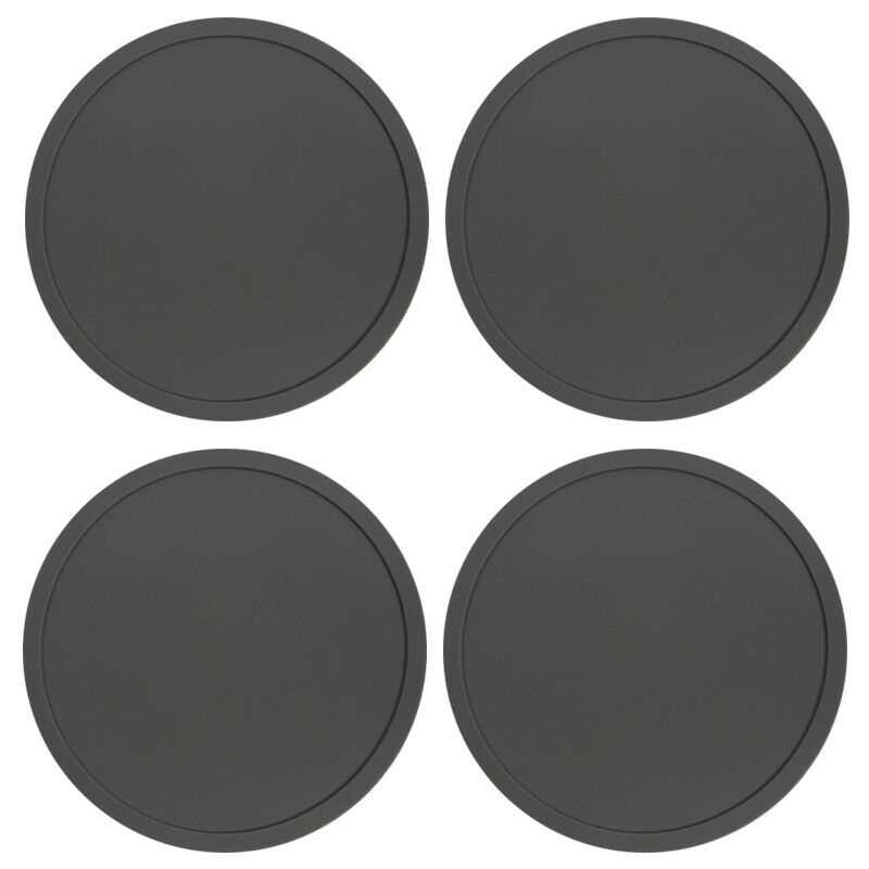 Grey Premium Rubber Silicone Hot Drink Coasters Place Mat Coffee Tea Mug - 4 Pack
