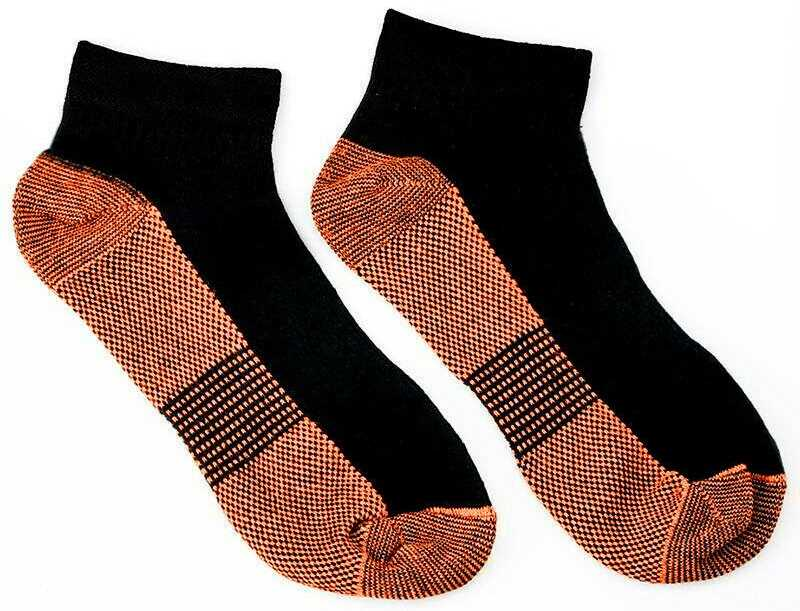 Small Medium Black Copper Compression Ankle Socks Foot Heel Sleeve Arthritis Pain Relief Support