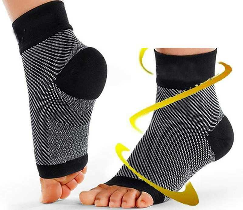 Small & Medium Grey Black Copper Compression Ankle Socks Foot Heel Sleeve Arthritis Pain Relief Support