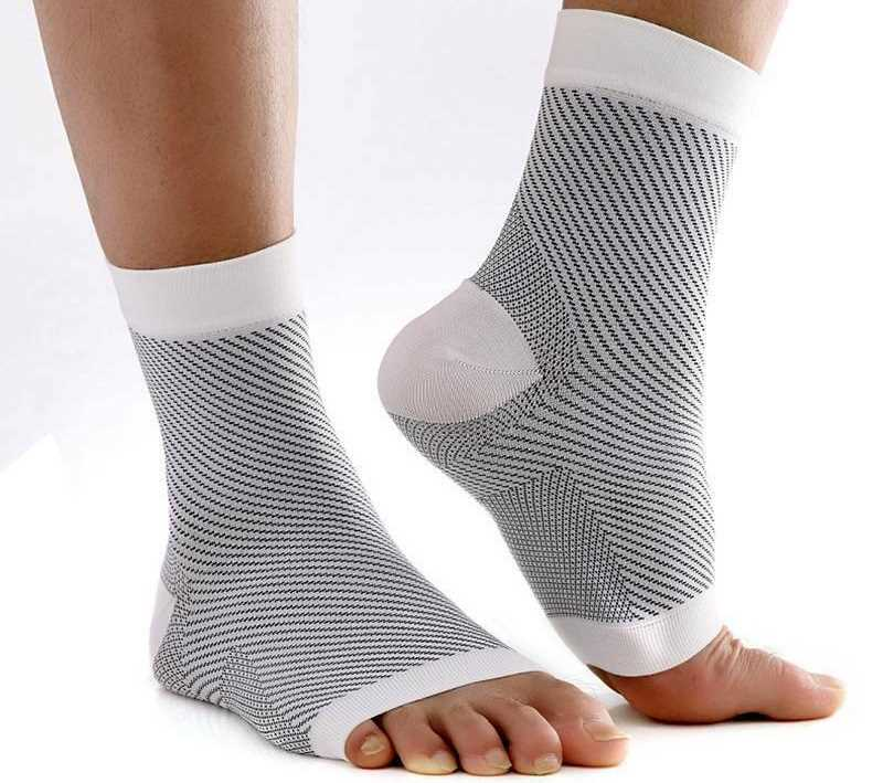 Small Medium White Grey Copper Compression Ankle Socks Foot Heel Sleeve Arthritis Pain Relief Support