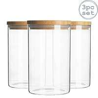3pc Glass Jar With Wooden Lid Storage Container Airtight 750ml