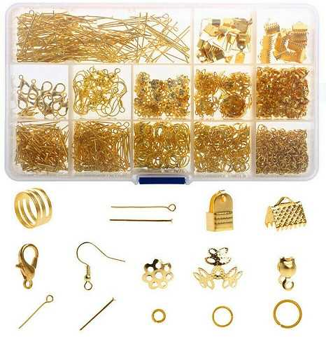 1000Pcs Finding Gold Jewellery Making Kit Wire Findings Pliers Starter Tool Necklace Ring Repair Diy