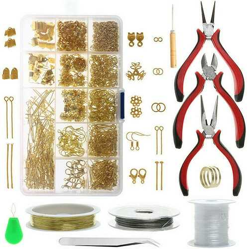 1000Pcs With 10Pcs Tool Finding Gold Jewellery Making Kit Wire Findings Pliers Starter Tool Necklace Ring Repair Diy
