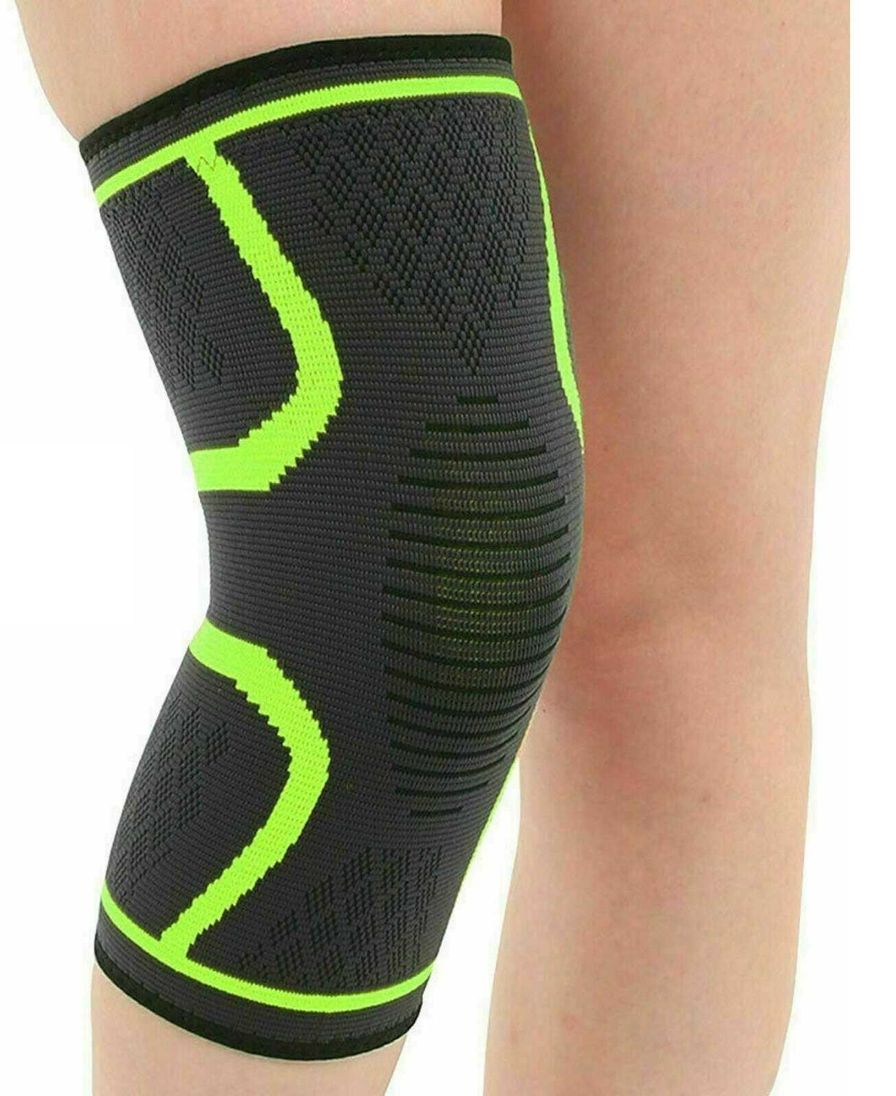 Green Large Knee Support Brace Compression Sleeve Arthritis For Running Gym Sports Protector