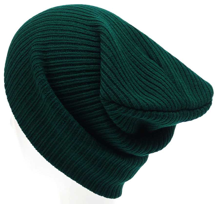 Green Mens Ladies Knitted Woolly Winter Slouch Beanie Hat Cap One Size skateboard