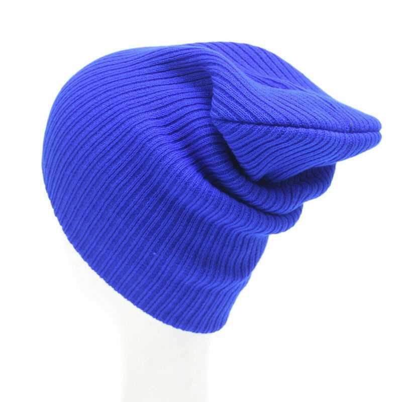 Royal Blue Mens Ladies Knitted Woolly Winter Slouch Beanie Hat Cap One Size skateboard