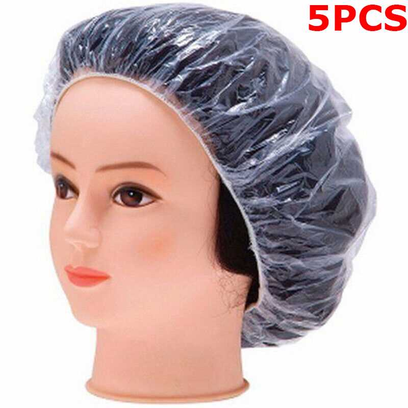 Disposable Shower Caps Bathing Elastic Clear Hair Care Protector   5Pcs Pack