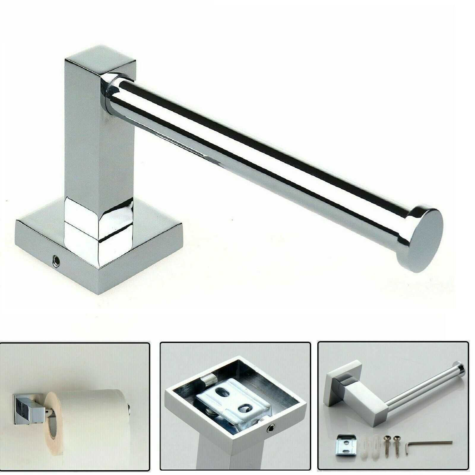 Toilet Roll Tissue Paper Holder Bathroom Wall Mounted Storage Chrome Square Bar