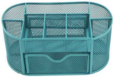 Blue Pencil Tray Mesh Pen Holder Stationery Container Storage Desk Tidy Organiser