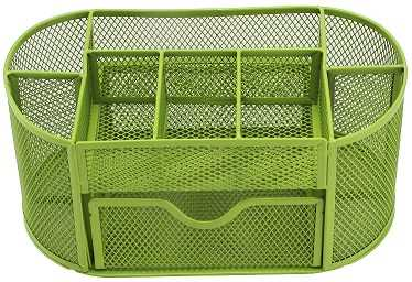 Green Pencil Tray Mesh Pen Holder Stationery Container Storage Desk Tidy Organiser